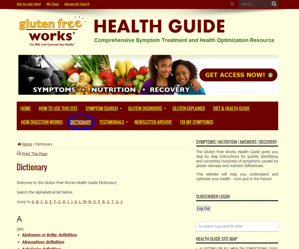 Health-guide-home-page-search-dictionary