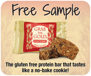 You just discovered the yummiest way to fuel your busy life! Grab The Gold is a chocolate peanut butter snack bar, and quite possibly the most satisfying way to stay full for 2-4 hours with 11 grams of protein. Click to get a free sample or 20% off your order!
