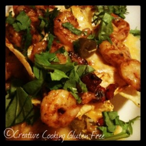 gluten free blackened shrimp nachos
