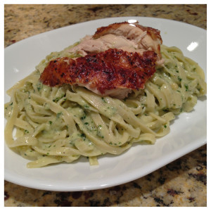 Gluten-Free Pesto Fettuccine with Chicken