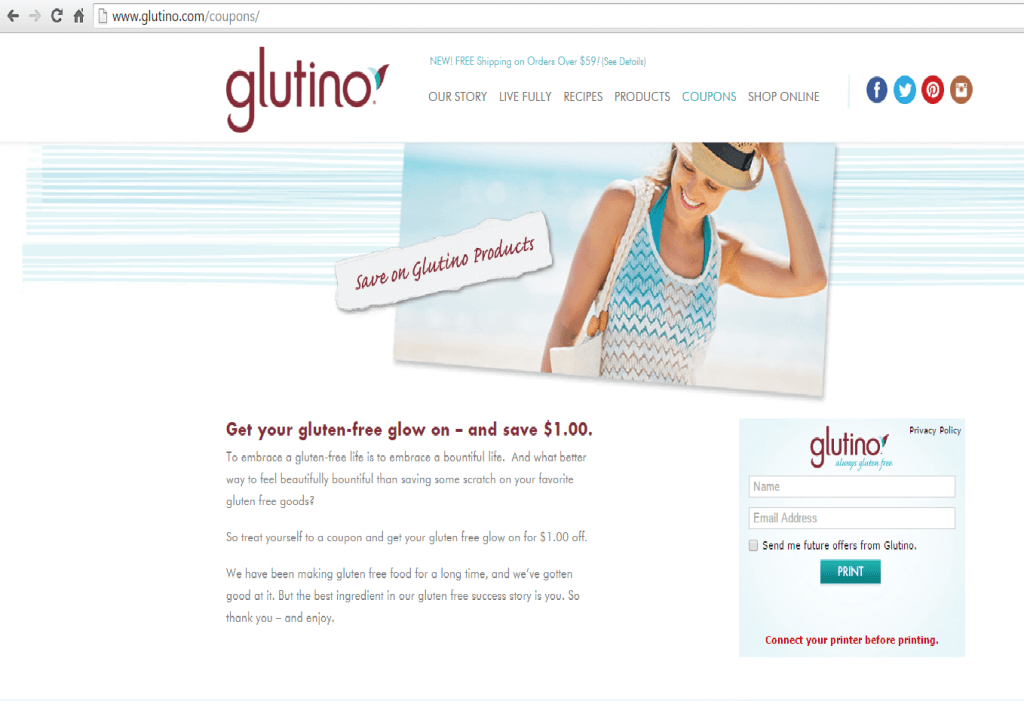 Glutino Coupon Page