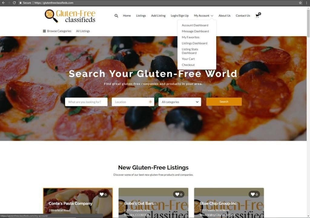 Glutenfreeclassifieds.com Offers Free Basic Listings