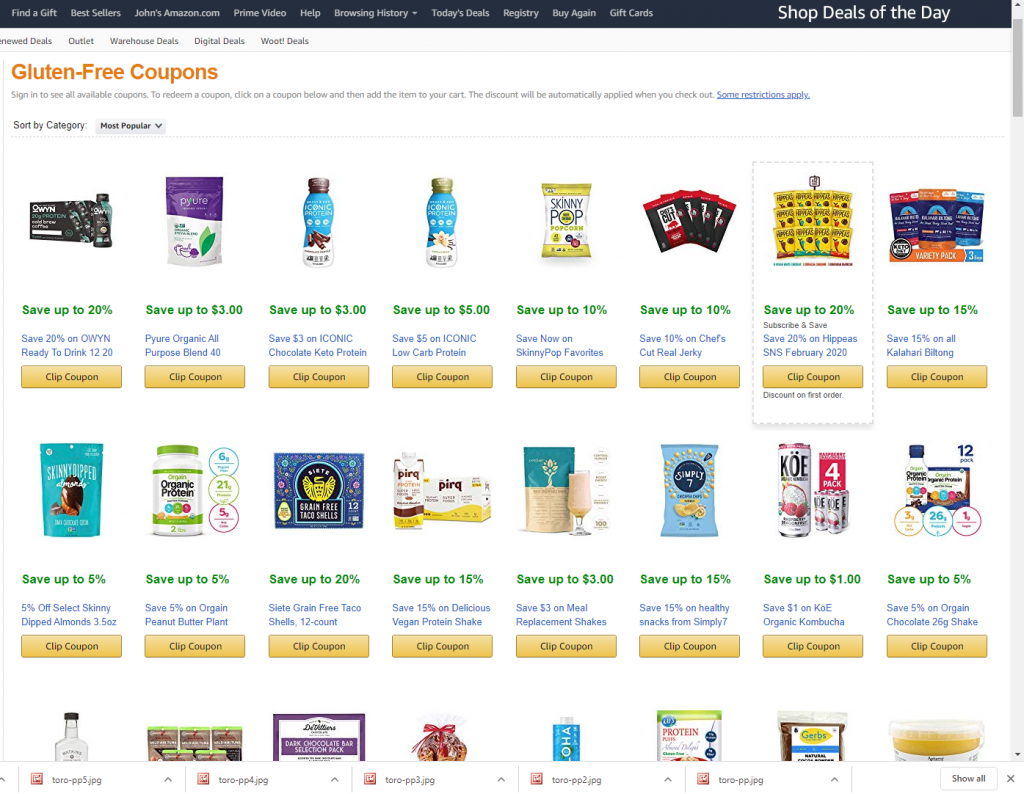 Hundreds of Gluten Free Coupons on Amazon